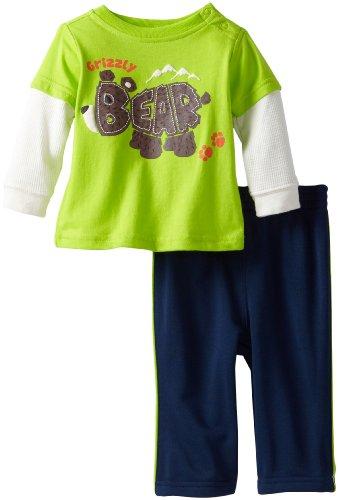 Kids Headquarters Baby-Boys Newborn Twofer Top With Pull On Pants Bear, Green, 3-6 Months front-698479