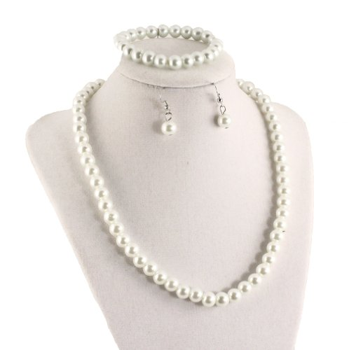 Hey Viv ! Single Strand Pearl Necklace Set - Pearls, Bracelet and Earrings