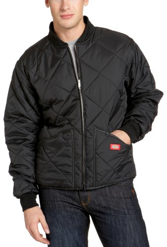 Dickies Men's Water Resistant Diamond Quilted Nylon Jacket, Black, Large