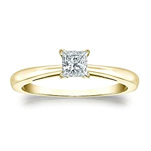 Jewel Oak 1/3 ct. tw. Princess-cut Diamond Solitaire Ring in 18k Yellow Gold (G-H, SI2-I1), Size 4.5