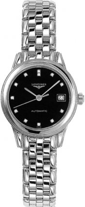 Longines Flagship Black Dial Diamond Ladies Watch