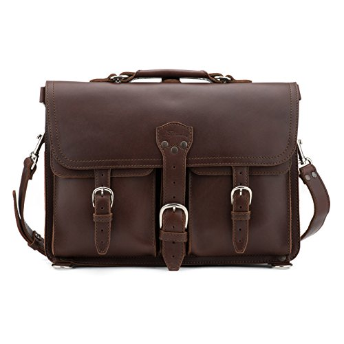 Saddleback Leather Large, Chestnut, Thin Front Pocket Briefcase - Full Grain Leather with 100 Year Warranty.