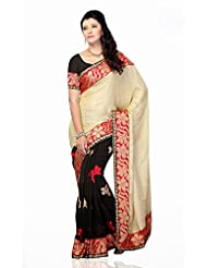 Shariyar Beige And Black Jacquard And Georgette Embroidery Saree PRG385