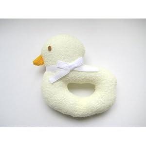 安心安全 日本製 ひよこ リング 鈴入り 布のおもちゃ クリーム