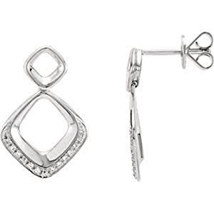 IceCarats Designer Jewelry 14K White Gold Diamond Earrings. 1/10 Cttw Pair