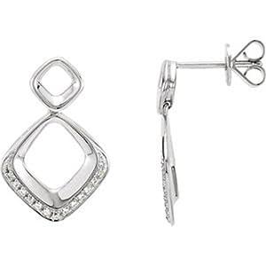 IceCarats Designer Jewelry 14K White Gold Diamond Earrings. 1/10 Cttw Pair