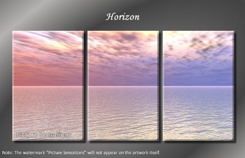 Framed Huge 3 Panel Modern Purple Sky Ocean Horizon Giclee Canvas Print