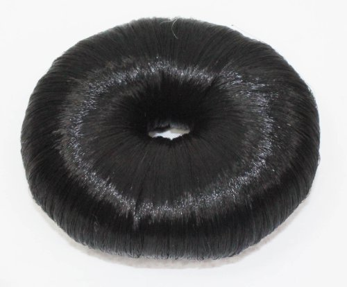 Womens Natural Look Imitation Round Hair Bun Size Approx. 5x2x25cm in Black