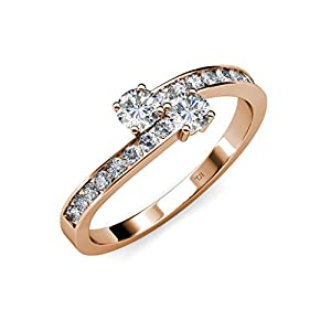 Diamond 2 Stone Bypass Engagement Ring (SI2-I1, G-H) 1.26 ct tw in 14K Rose Gold.size 6.5