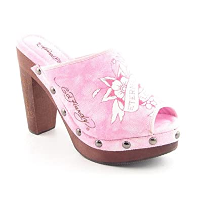 Ed Hardy Cest Prive Womens Size 5 Pink Pink Pumps Open Toe Textile Mules Shoes