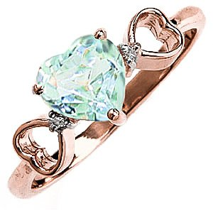 QP Jewellers Natural Diamond & Aquamarine Ring in 9ct Rose Gold, 0.95ct - 2145R