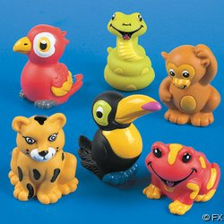 Lot of 24 Rain Forest Animal Finger Puppets by Fun Express Educational Products