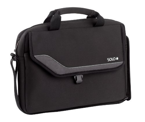 SOLO Vector Collection Laptop Slim Brief Case Holds Notebook Computer up to 14.1 Inches, Black with White Accents (VTR131-4/28)