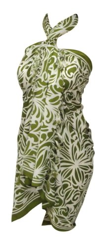 La Leela Allover Printed Swim Sarong Green