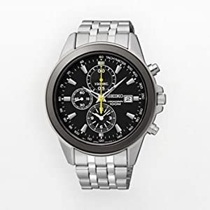 Seiko Mens Stainless Steel Chronograph Watch Black Dial SNDF09
