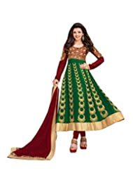 Aarti Saree Trendy Fashionable Green And Beige Straight Suit With Heavy Embroidery Work - B019XTQF7U