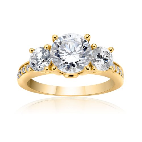SusanB.flawless 2.5 Carat Simulated Diamond 3 Stone Ring 18K Gold over Sterling Silver