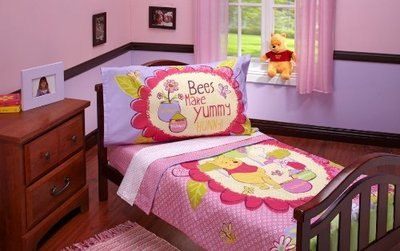 DISNEY WINNIE THE POOH & PIGLET 4PC MICROFIBER TODDLER BEDDING SET