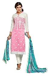 Balaji Fashion World Women's Cotton Unstitched Dress Material (BFW-5089-1_White & Pink_Free size)