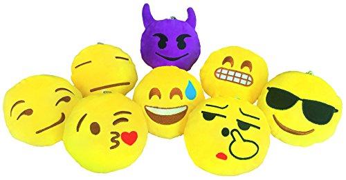 YINGGG® Cute Mini Emoji Cushion Pillow Kids Soft Toy Gift Bag Accessory Set of 8 (Style 1)