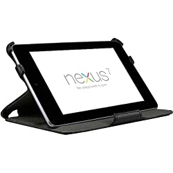 EXOTEK Premium Slim-Fit Folio Cover Case With Multi-Angle Stand For Google Nexus 7 Tablet (With Automatic Sleep/Wake Function) (Black)