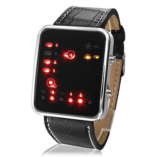 Baolihao Unisex Led Binary System Display Black Pu Leather Wrist Watch Wth0466