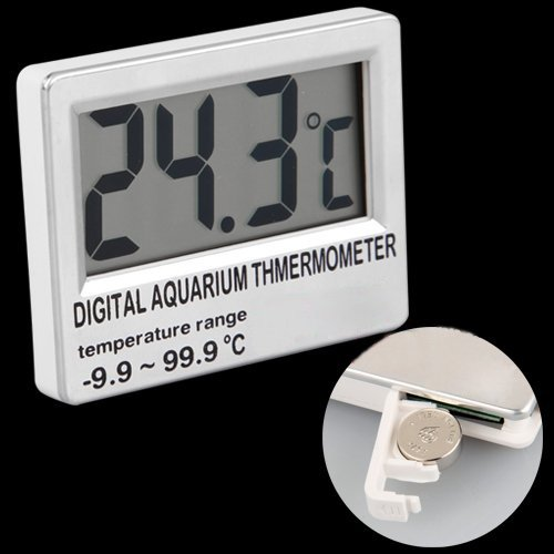 SODIAL(R) Digital LCD Aquarium Fish Tank Vivarium Meter Thermometer 2 5 lcd digital fish tank aquarium thermometer 1xlr44