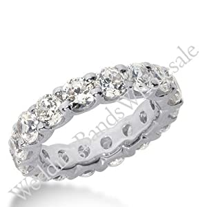 14k Gold Diamond Eternity Wedding Bands, Wide Shared Prong Setting 6.00 ct. DEB1674514K - Size 10