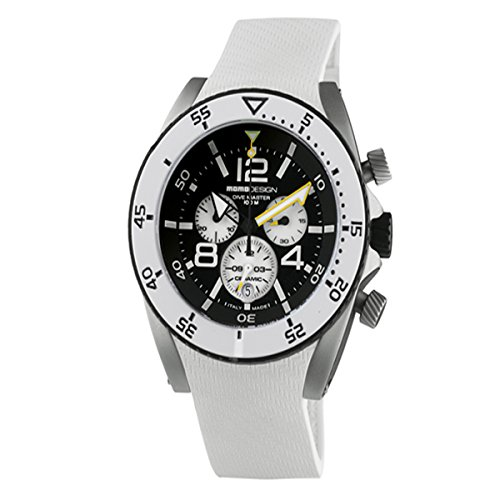 MOMO Design MD281-01BKWT-RB - Orologio da polso, caucciú, colore: bianco