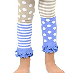 Naartjie Girls Stripes with Dots Legging with Ruffle Bottom (6YR-8YR, Ivory)