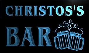 w056264-b CHRISTOS'S Name Home Bar Pub Beer Mugs Cheers Neon Light Sign