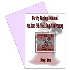 6th Wedding Anniversary Gift Ideas For Husband : Husband 6th Wedding Anniversary Card With Removable Magnet Gift - 6 ...