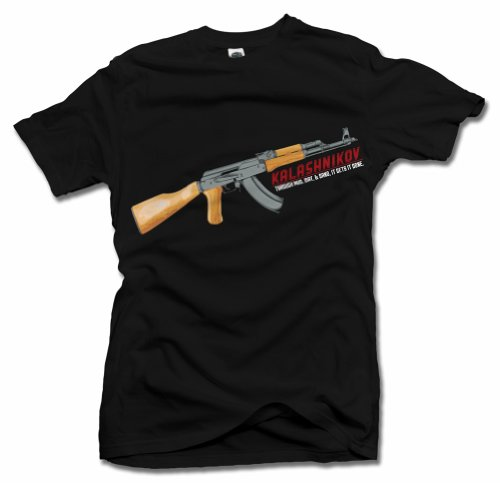 Ak-47 Through Mud Dirt And Sand It Gets It Done M Black Men'S Tee (6.1Oz)