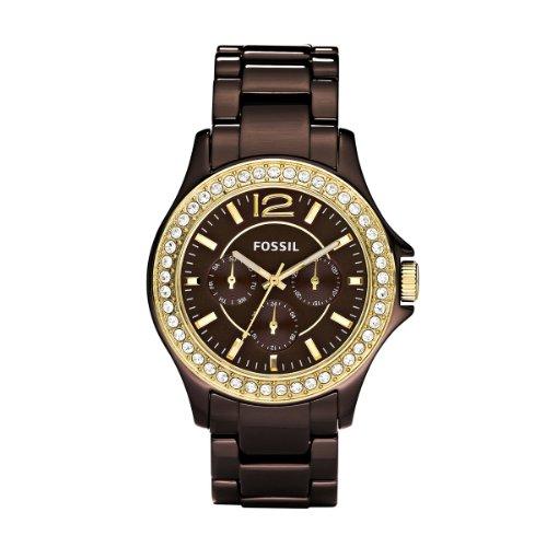 Fossil Ladies Sport CE1044 - Reloj analógico de cuarzo para mujer, correa de cerámica color marrón (agujas luminiscentes)
