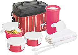 Nayasa Toasty Plastic Lunch Box, 4-Pieces, Red