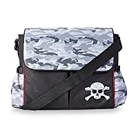 Black Messenger Diaper Bag - Camouflage / Skull by Tender Kisses