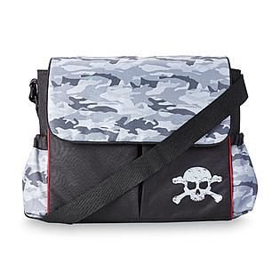 Black Messenger Diaper Bag - Camouflage / Skull