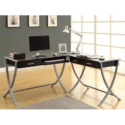Monarch Specialties Cappuccino Finish and Silver Metal Corner Desk