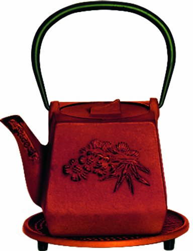 G&H Tea Services Otani Japanese Tetsubin 25-Ounce Teapot And Trivet, Red