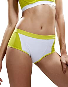 Yvette® Sports Panties[5 Colors,8 Sizes] - Power Net Lining/Moisture Wicking/Antibacterial&Deodorant(White+Neon Yellow/Colored/Colorful/lime green 6004 XL)