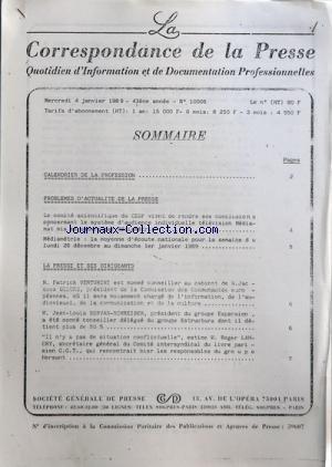 correspondance-de-la-presse-la-no-10006-du-04-01-1989-sommaire-oco-calendrier-de-la-profession-oco-p