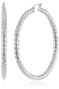 "Sterling Silver Double Diamond-Cut Hoop Earrings (2.2"" Diameter) by Amazon Curated Collection"