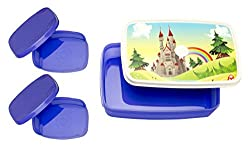 Signoraware Castle Compact Plastic Lunch Box Set, Violet