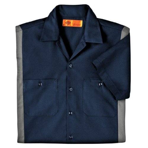 Dickies Occupational Workwear Ls524Dnsm 3Xlt Polyester/ Cotton Men'S Short Sleeve Industrial Color Block Shirt, 3X-Large Tall, Dark Navy/ Smoke