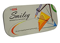 Vikas Smiley Geometry Kit For Students In Stainless Steel Case Math Set Pack of 1 Piece