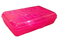 Girls\' Stackable Pencil Box with Splash Tint Lid (Pink)
