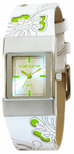 Kahuna White and Green Floral Leather Ladies Watch - KUS-0015L