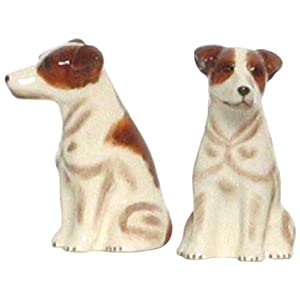 Ceramic Pottery Jack Russell Dog Salt and Pepper Shakers 3.5