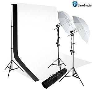 LimoStudio Photography Light Photo Video Studio Umbrella Reflector White Black Photo Backdrop Lighting Kit Combo, AGG725