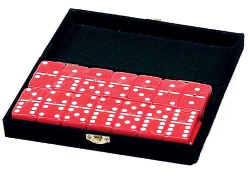 Domino Double 6 Red Tiles Jumbo Tournament Size W/Spinners